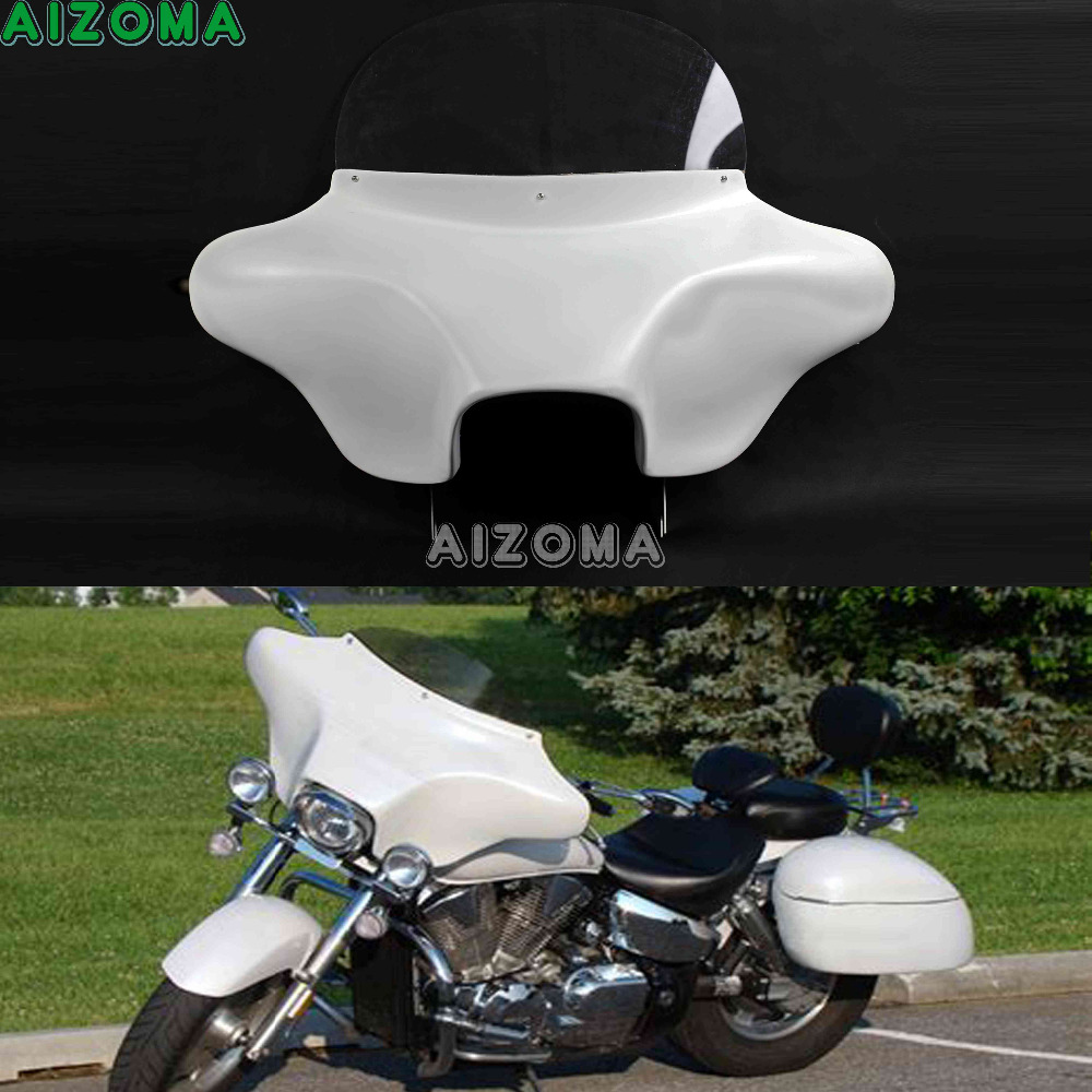 Motorcycle Large Batwing Fairing Wind Deflector 6x9 Speakers White Detachable Front Fairing Cowl For Harley Touring 1994-2013 stylish cowl neck long sleeves color match batwing irregular design cotton blend sweater for women