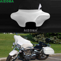 White Detachable Batwing Fairing 6x9 Speakers Cut Out Headlight Fairing w/ Windshield Bracket for Harley Touring Road King 94 13