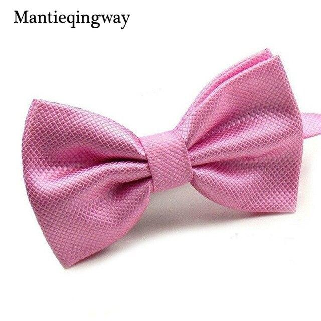 Mantieqingway Nowością Wesele Poliester Noeud Papillon Mężczyźni Kobiety Muszka Bowtie Solid Color Neckwear Tanie Krawat Bolo