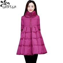 UHYTGF, высокая талия, средняя длина, зимняя хлопковая куртка Parker, женская мода, плащ, свободный пуховик, Повседневная теплая верхняя одежда 1088