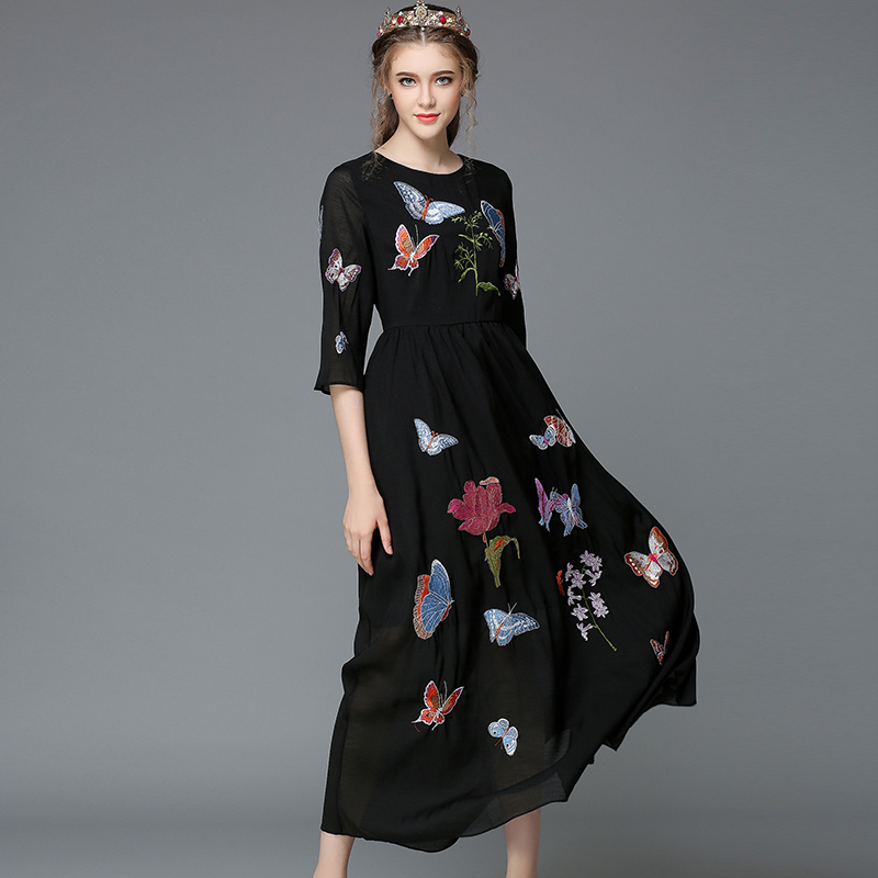 2015 Autumn Fashion Womens Elegant 34 Sleeve Embroidery Butterfly