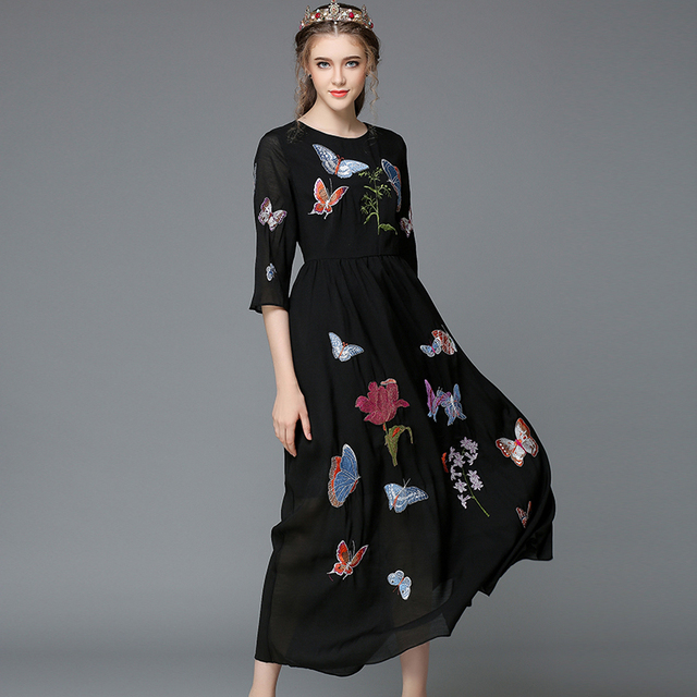 2015 Autumn Fashion Women\'s Elegant 3/4 Sleeve Embroidery Butterfly ...
