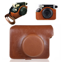 PU Leather Shoulder Strap Bag Case For Fujifilm Polaroid Instax Wide 300 Vintage Solid Color Instant  Camera Carry Cover Pouch