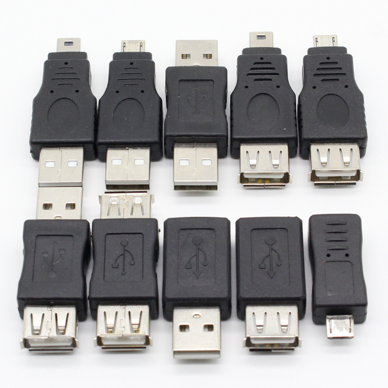 10Pcs OTG 5pin F/M Mini Changer Adapter Converter USB Male to Female Micro USB Adapter USB Gadgets 10pcs otg 5 pin f m mini changer adapter
