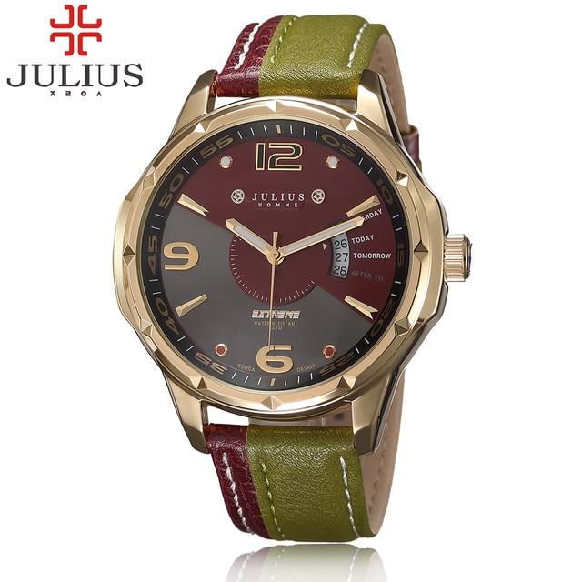 2017 Способа прибытия военный часы julius Ремень Из Натуральной Кожи часы Vintage Кварц Аутентичные Корея календарь Wristwatche