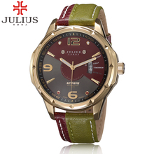 2017 arrival Fashion military Man watch julius Genuine Leather Strap watches Vintage Quartz Authentic Korea calendar Wristwatche