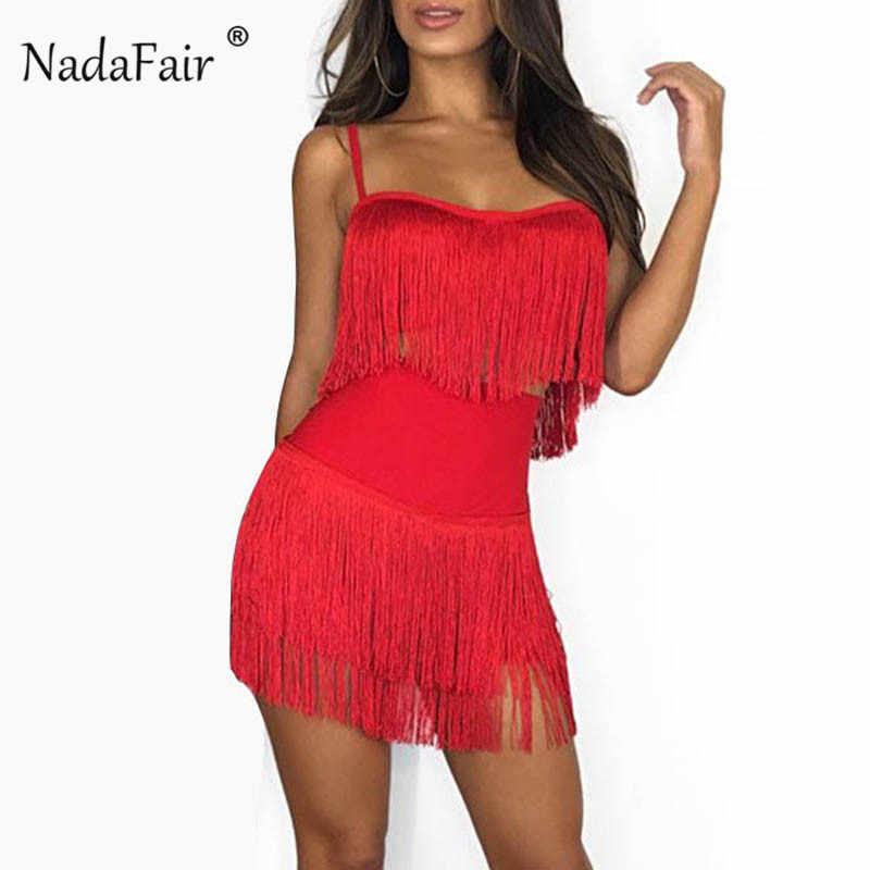 106571381a135 Nadafair red black white sexy tassel two piece set women strap crop tops  female elastic waist