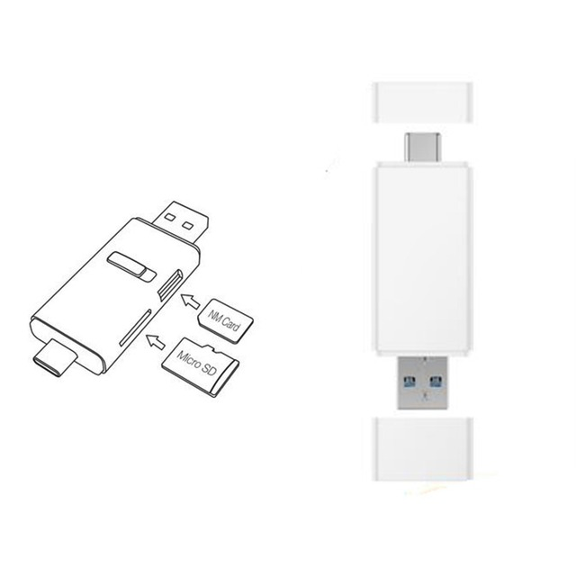100MB/s For Huawei NM Nano Memory Card Reader Micro SD Type C USB A 2 in1 Card Reader For Mate 20 Pro With USB 3.1 Gen 1