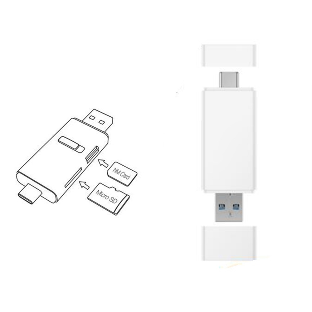 100MB/s For Huawei NM Nano Memory Card Reader Micro SD Type-C <font><b>USB</b></font>-A 2 in1 Card Reader For Mate 20 Pro With <font><b>USB</b></font> <font><b>3.1</b></font> <font><b>Gen</b></font> <font><b>1</b></font> image