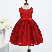Fashion Red Kids Chinese Dress Elegant For Girls Summer Flower Sweet Wedding Girl Cotton Clothes