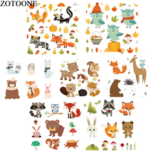 ZOTOONE Cute Animal Patch Set Iron on Transfers for Children Clothing Owl Rabbit Patches For Clothes DIY Applique Heat Press D