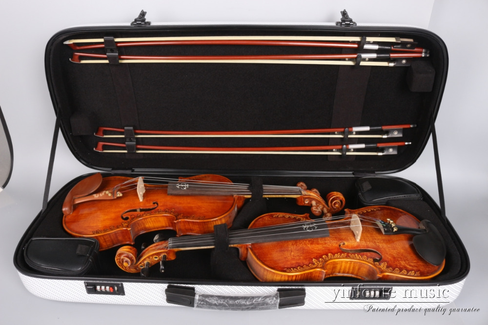 4/4 Double Violin Case Code lock Carbon fiber Square Case Yinfente put two violins  four bows