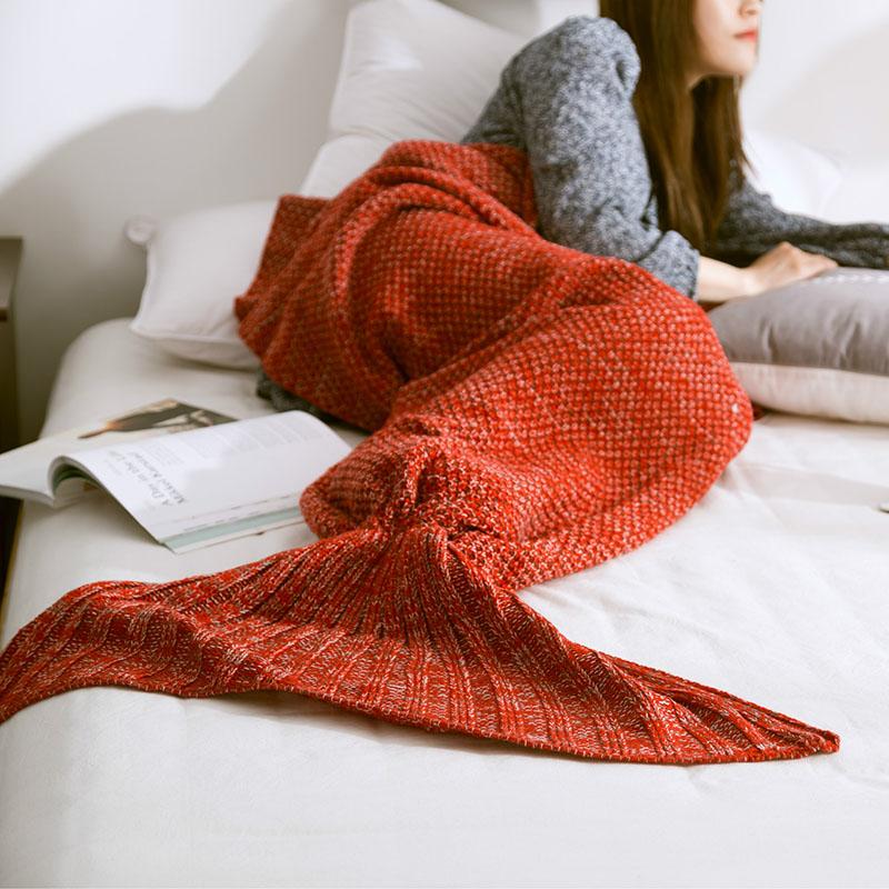 Hot-Mermaid-Blanket-Handmade-Knitted-Sleeping-Wrap-TV-Sofa-Mermaid-Tail-Blanket-Kids-Adult-Baby-crocheted