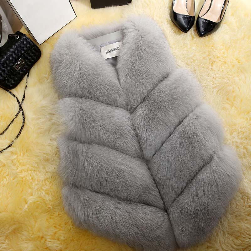 2018 New Fashion Fur Coat Women Plus Size Faux Fur Gilet Waistcoat Fur Gilet Overcoat Jacket Female