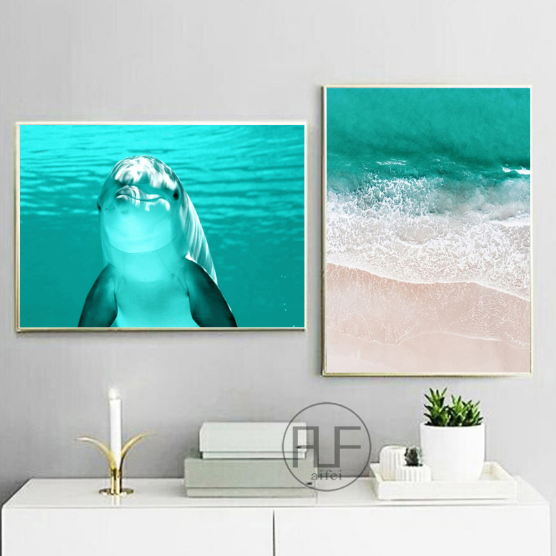 Nordic Posters And Prints Sea Dolphin Beach Fish Scenery Canvas Painting Wall Pictures For Living Room Modern Home Decoration