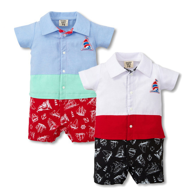 fb0c6503a94d Summer Baby Rompers Similar Jeans Boys Outerwear Cotton Kids Jumpsuits Short  Sleeve Polo Rompers Roupas Bebes Baby Girls Clothes