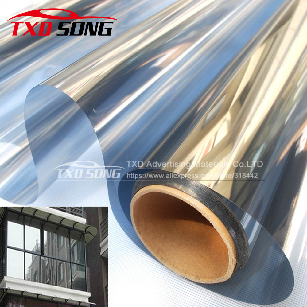 50*300CMLot Silver Insulation Window Film Stickers Solar Reflective One Way Mirror Silver window solar film by free shipping