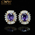 High Quality Cubic Zirconia Stone Paved Women Gold Plated Stud Earring With Amethyst Purple Crystal Jewelry CZ386