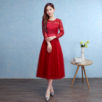 Brand New Bridesmaid Dresses with Long Sleeves Sashes Bride Gown Ball Prom Party Homecoming/Graduation Princess Formal Dress 2016 new lace evening dresses with cap sleeve flower red bride gown ball prom party homecoming graduation princess formal dress