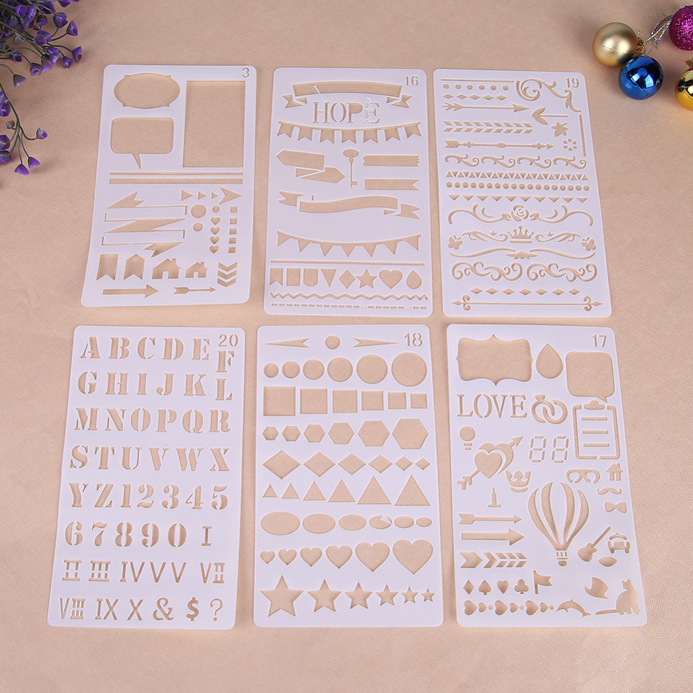 12pcs Kids English Letters Drawing Molds Children Painting Stencils Diy Paper Art Craft Card Label Scrapbook Bookmark Home
