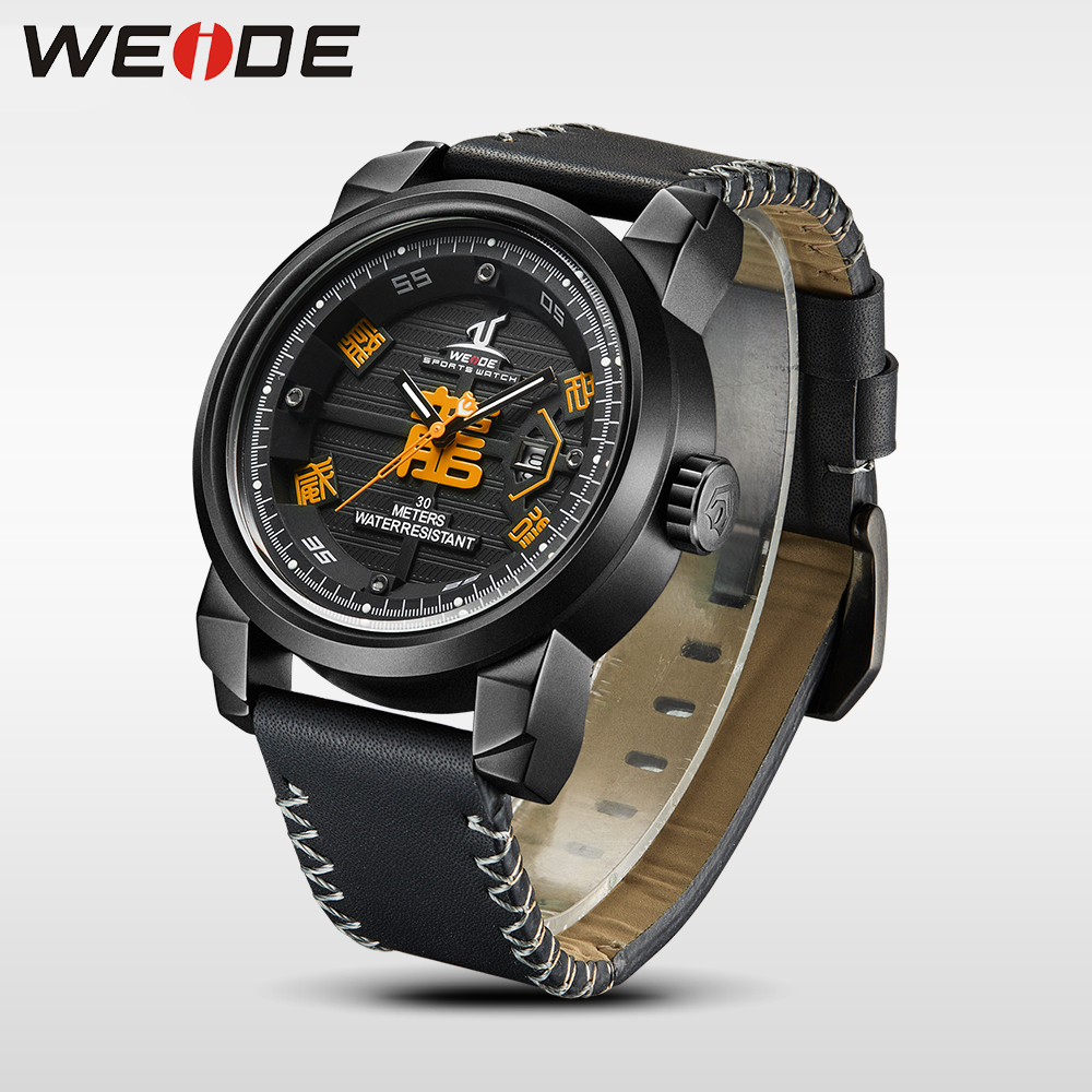 WEIDE brand Watch Men Waterproof Leather Strap Analog luxury Sport Quartz automatic Watch electronic wrist watches gift for man цена