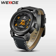 лучшая цена WEIDE brand Watch Men Waterproof Leather Strap Analog luxury Sport Quartz automatic Watch electronic wrist watches gift for man