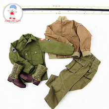 DML 1/6 DIY WWII USA Army Male Tank Armer Soldiers Uniforms Military Clothes Boots For 12 Inches Action Figures