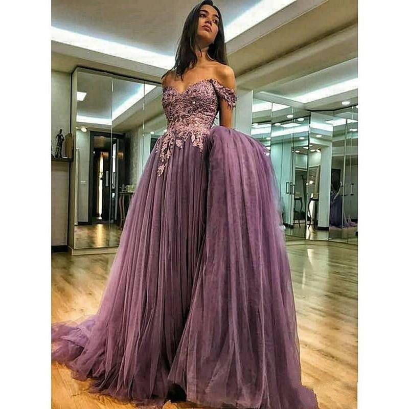 Off The Shoulder   Evening     Dresses   2019 A-line Tulle Lace Pearls Formal Islamic Dubai Kaftan Saudi Arabic Long   Evening   Gown