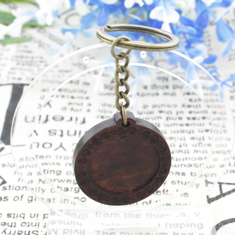 TAFREE Borboleta Pinturas de Arte De Madeira Cabochon Vidro Pingente Da Corrente Chave Keychain Chave Anéis Feitos À Mão Ornamento Jóias JS15