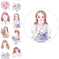 NEW 1Roll 35mm 7M High Quality Sweet Girls Pattern Japanese Washi Decorative Adhesive Tape DIY Masking
