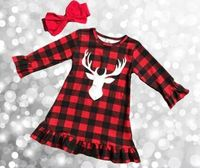 Christmas Fall Winter Baby Girls Clothes Children Red Black Plaid Reindeer Print Cotton Ruffle Boutique Outfits