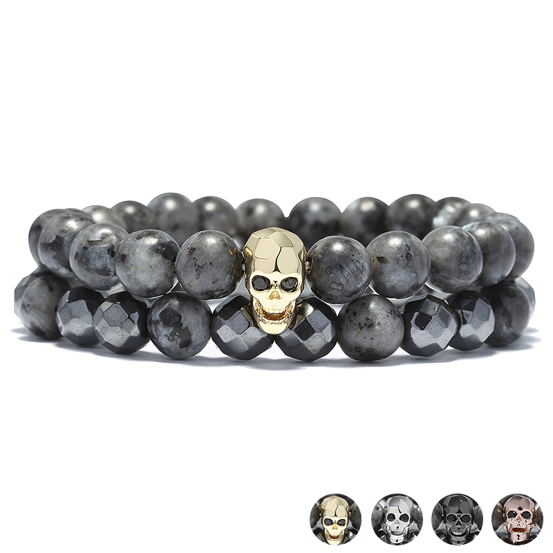 Black Faced Beads Punk Skull Bracelets Set Hand Accessories 2PCS Skeleton Male Strand Bracelet Men Jewelry Erkek Bileklik