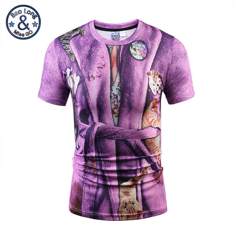 2017 Mr.1991INC&Miss.GO Summer New Men/Women 3D Printing Fake Bathrobes Short Sleeves T-Shirt Printing Cat Trend Apparel Tops S-