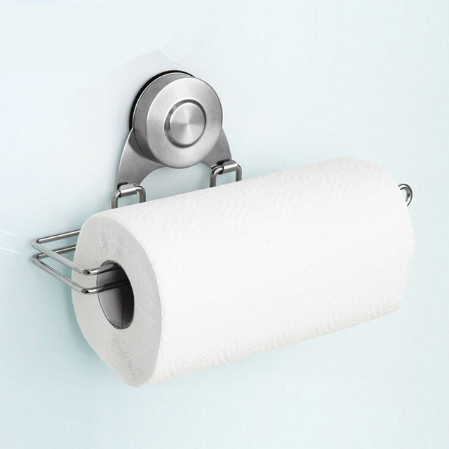 Stainless Tissue Holder Vacuum Chuck Tissue Paper Holder Kitchen Roll Paper  Towel Holder Paper Towel Dispensers
