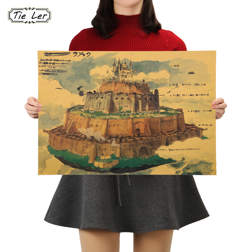 TIE LER Sky City Hand Drawn Kraft Paper Poster Japanese Animation Poster Bars Cafe Bedroom Decor Wall Sticker 51X36cm Велюр