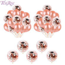 FENGRISE 15pcs/lot Rose Gold Confetti balloon latex balloons 18/21/30/40/50/60 Happy Birthday Party Anniversary Decorations