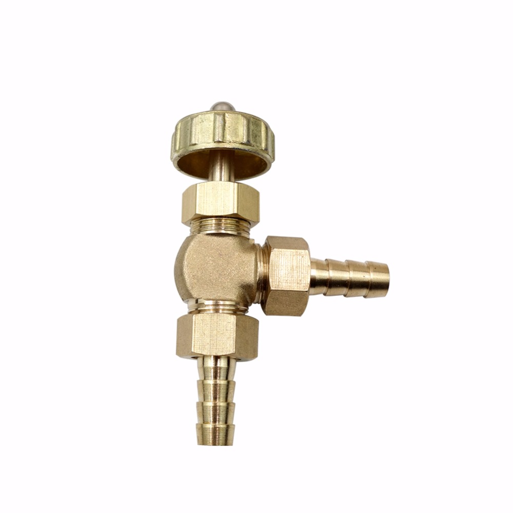 8mm ID Hose Barb Brass Angle Needle Valve For Gas Max Pressure 0.8 Mpa