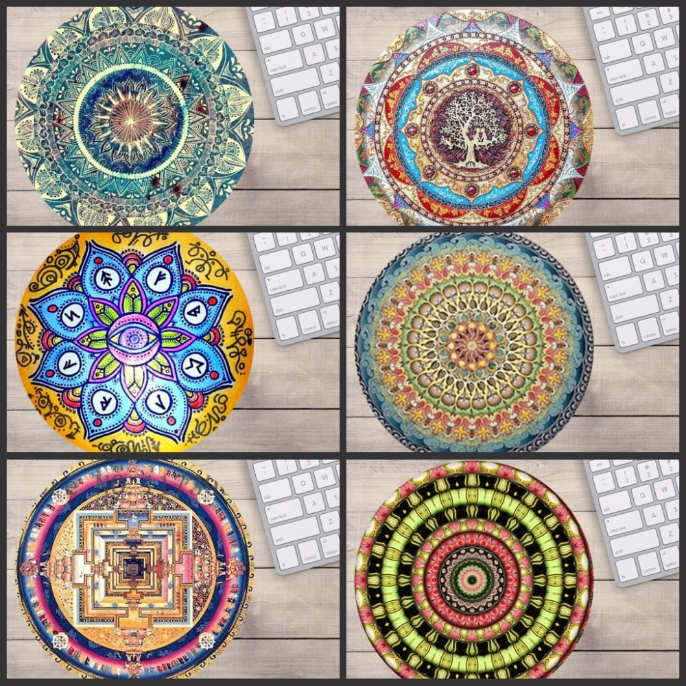 Mairuige Custom Support Designed Mouse Pad With Mandala Pattern Fashion Design Circular Mousepad With Rubber 20cm By Mouse Pads