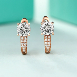 Image 2 - 18 พัน Pure Rose Gold Moissanite คลิปต่างหูผู้หญิง 0.5CT VS G Charles Colvard อัญมณีเครื่องประดับจำลอง diamond Accent