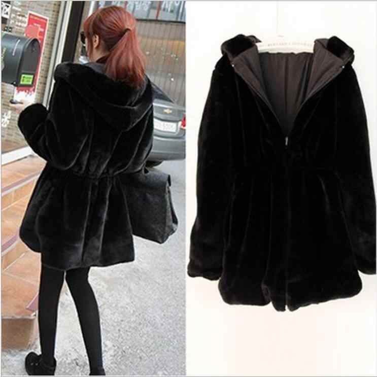 Women's fur coat thicken warm hooded fur & faux mink winter two-sided wear long sleeve slim outerwear female trench coats jacket