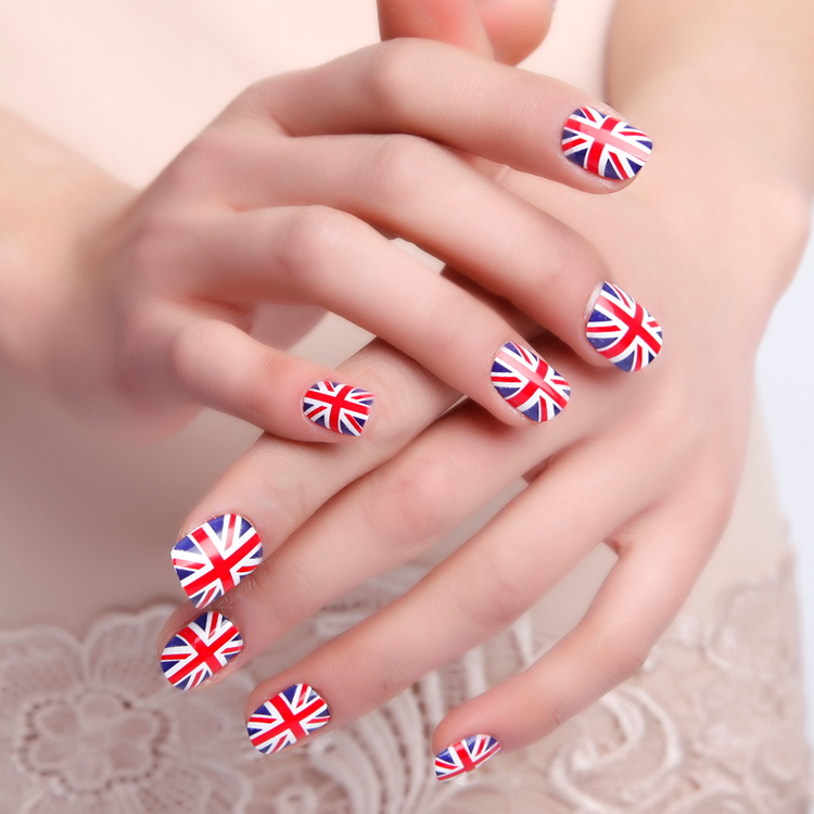 Merk Nail Design Britse Vlag Manicure Styling Gereedschap Wraps