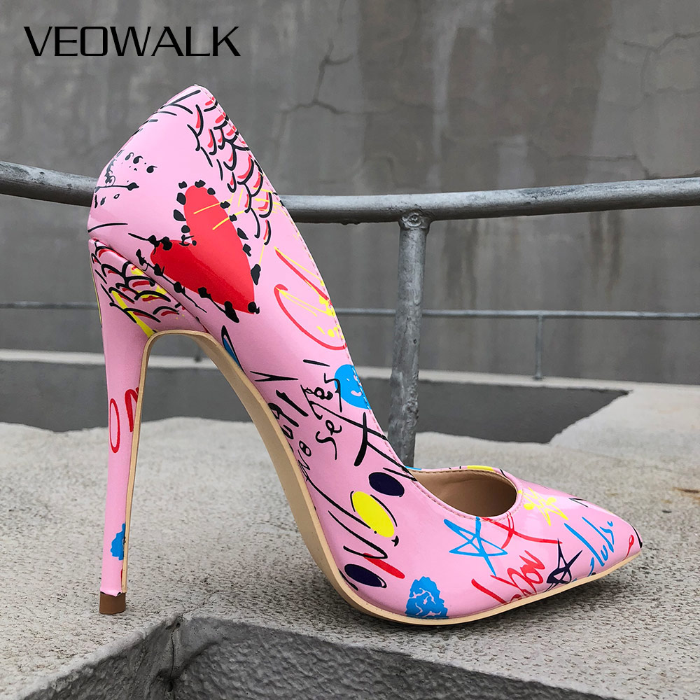 Veowalk Artistic Graffiti Print Women Sexy Stiletto High Heels Pink Ladies Party Pointed Toe Pumps Shoes Color Customized Accept цена 2017