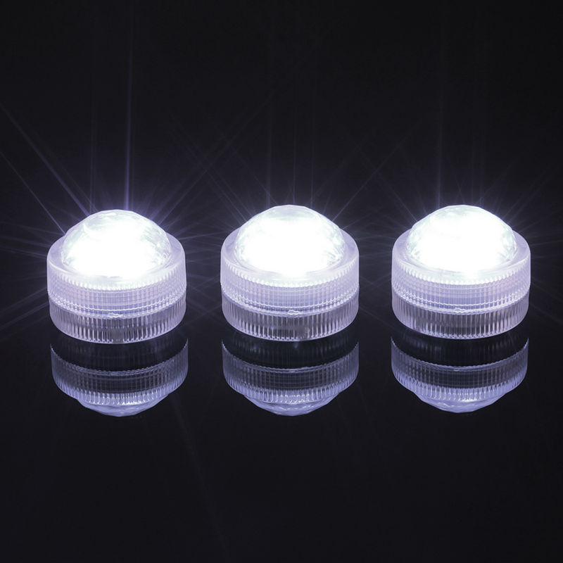 (50pcs/Lot ) 3CM Diameter 2.2CM Tall Submersible Foralytes Waterproof 3 LED Accent Light For Wedding Centerpieces Decoration