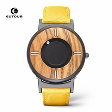 Brand EUTOUR Magnetic Watch Men Luxury Wood Fashion Man Quartz Waterproof Canvas Magnet Wrist Relogio Masculino
