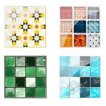 19pcs Mosaic Tile Wall Sticker PVC Waterproof Tiles Decals Adhesive Furniture Kitchen Waist Line Decoration