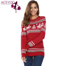ACEVOG  Autumn Christmas Sweaters Deer Print Women Casual Long Sleeve O Neck Slim Pullover Warm Sweater Feminino Winter Tops