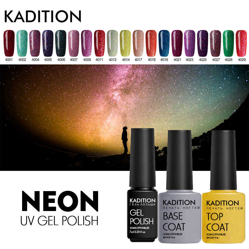 Kadition Terbaru Mengkilap 7 Ml Neon Gel Lucky Candy Warna Gel Bersinar DIY Kuku Seni Lampu Cat UV Glitter lacquer Nail Varnish