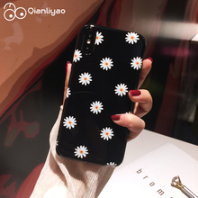 Qianliyao Retro Daisy Flowers Phone Cases For iphone X Case XS MAX XR 8 7 6S 6 Plus Cover Soft TPU Black Capa