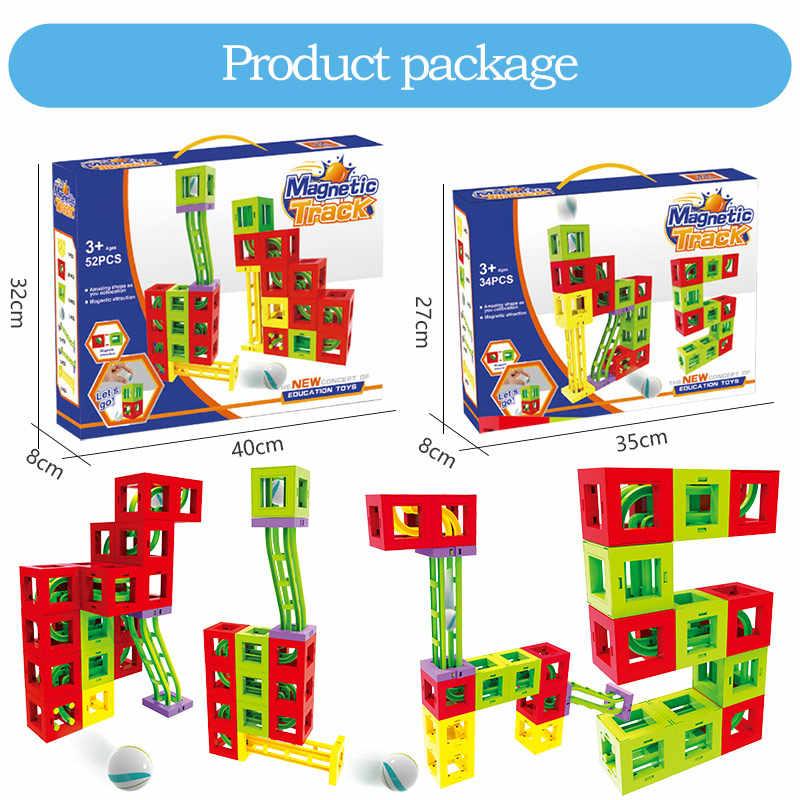 Магнитный конструктор шарики игрушки для детей строительство Пластик трубчатые бруски трек зимний праздник рождественские подарки для детей