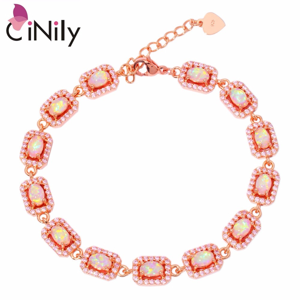 CiNily Created Pink Fire Opal Pink Zircon Rose Gold Color Wholesale for Women Jewelry Gift Bracelet 7 1/4-8 1/4 OS573CiNily Created Pink Fire Opal Pink Zircon Rose Gold Color Wholesale for Women Jewelry Gift Bracelet 7 1/4-8 1/4 OS573